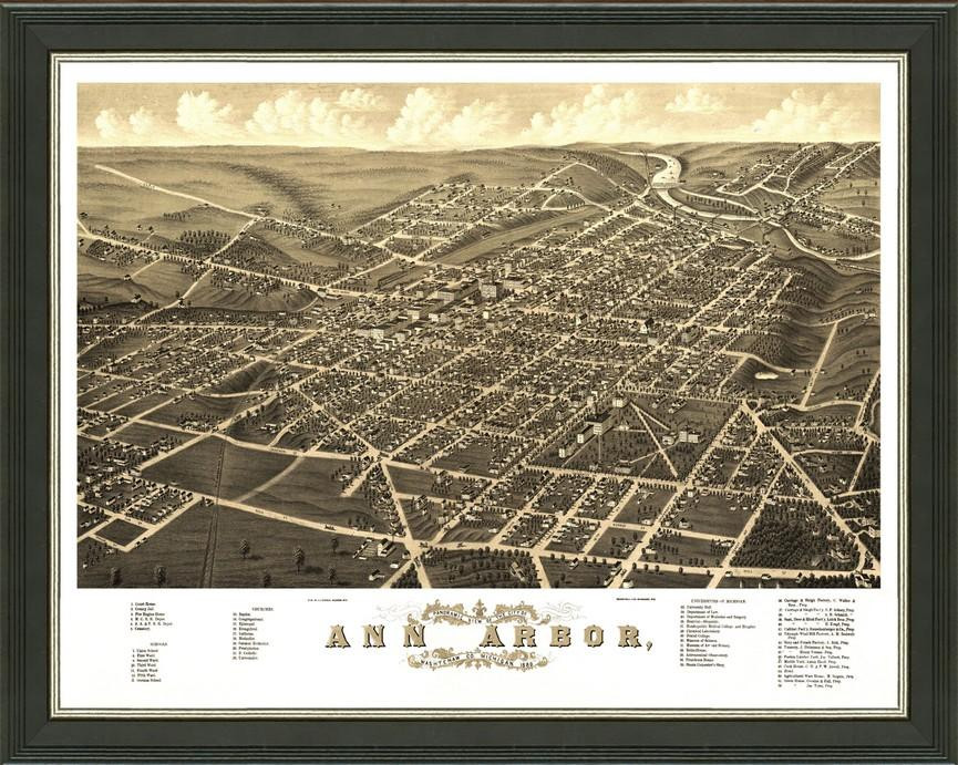 Old Map Of Ann Arbor A Great Framed Map Thats Ready To Hang - Ann arbor map