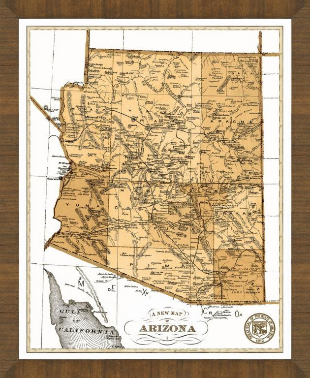 Old Map Of Arizona A Great Framed Map That S Ready To Hang
