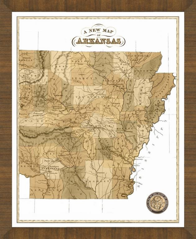 Old Map of Arkansas A Great Framed Map Thats Ready to Hang