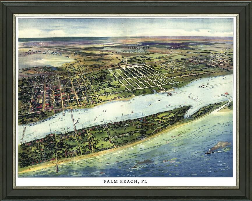 Old Map of Palm Beach – A Great Framed Map That\'s Ready to Hang