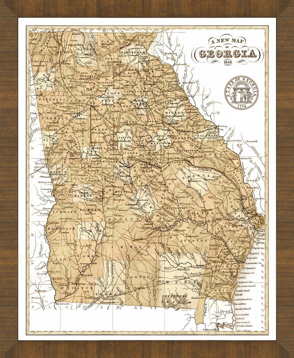 Old Map Of Georgia A Great Framed Map That S Ready To Hang