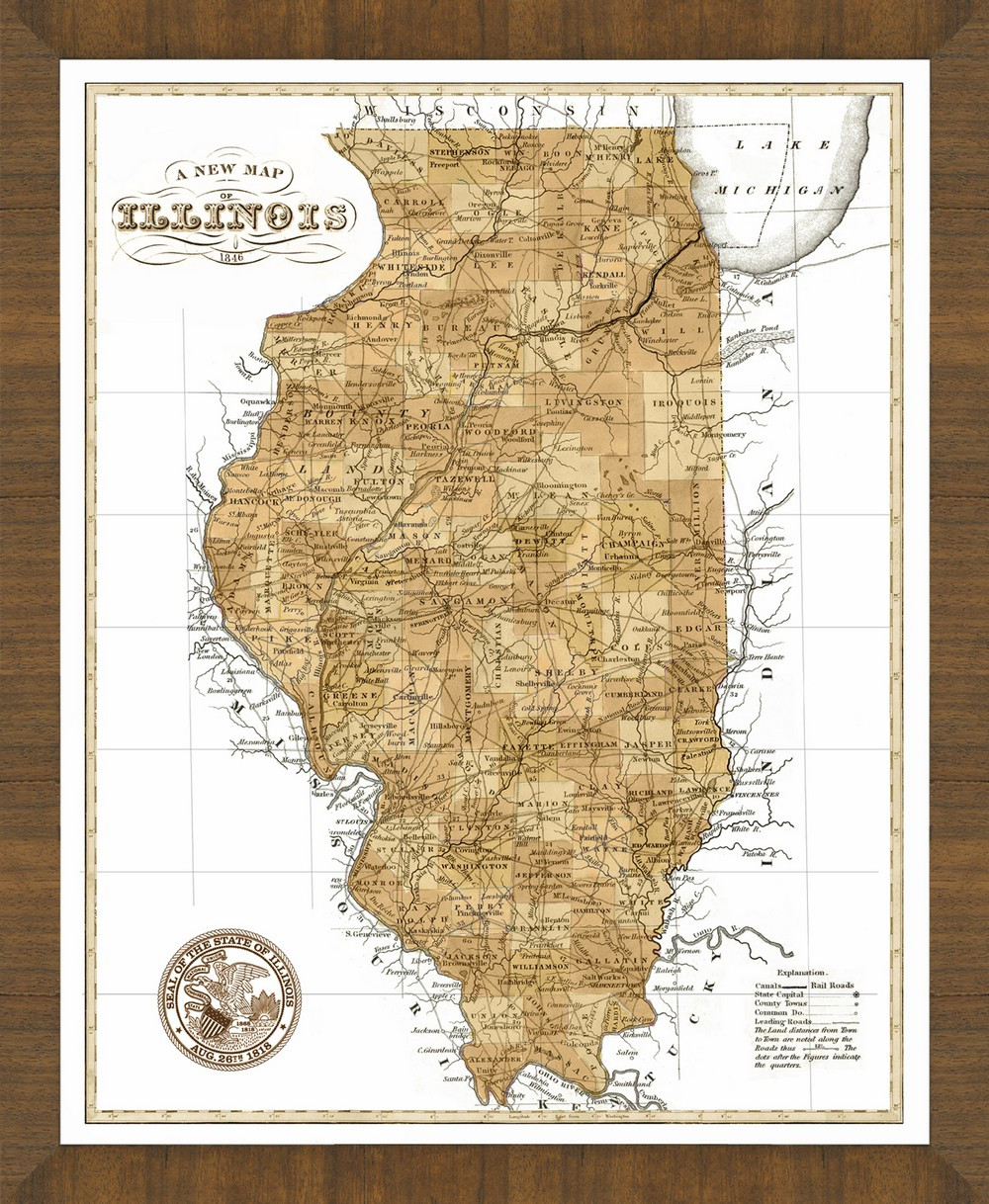 Old Map Of Illinois A Great Framed Map Thats Ready To Hang - Map of illinois