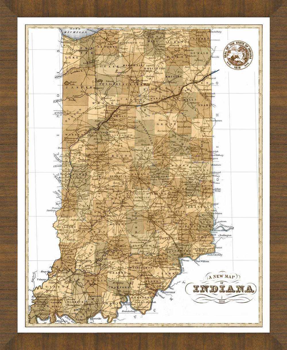 Old Map Of Indiana A Great Framed Map Thats Ready To Hang - Map of indiana