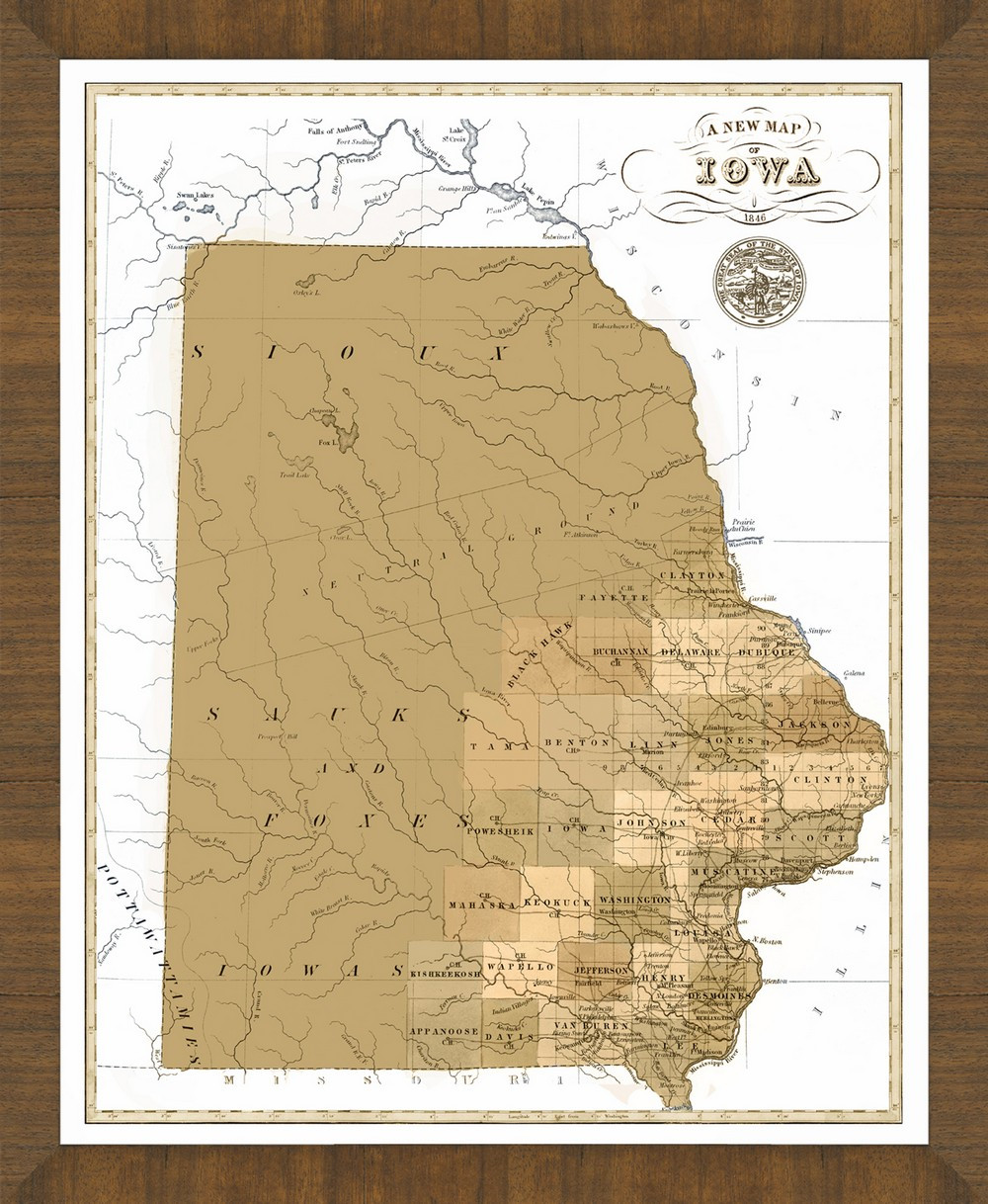 Old Map Of Iowa A Great Framed Map Thats Ready To Hang - Map of iowa
