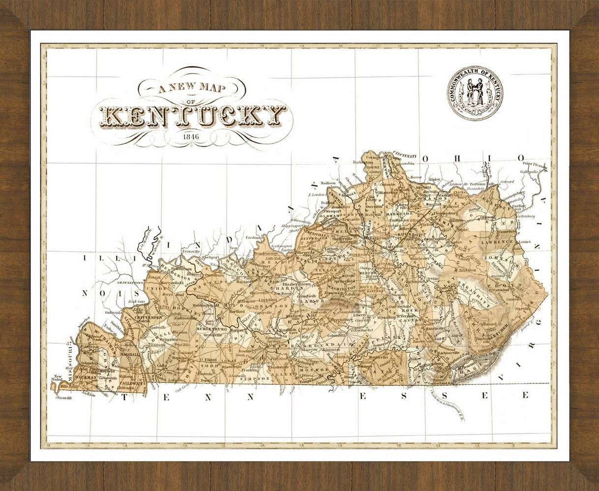 Old Map Of Kentucky A Great Framed Map That S Ready To Hang