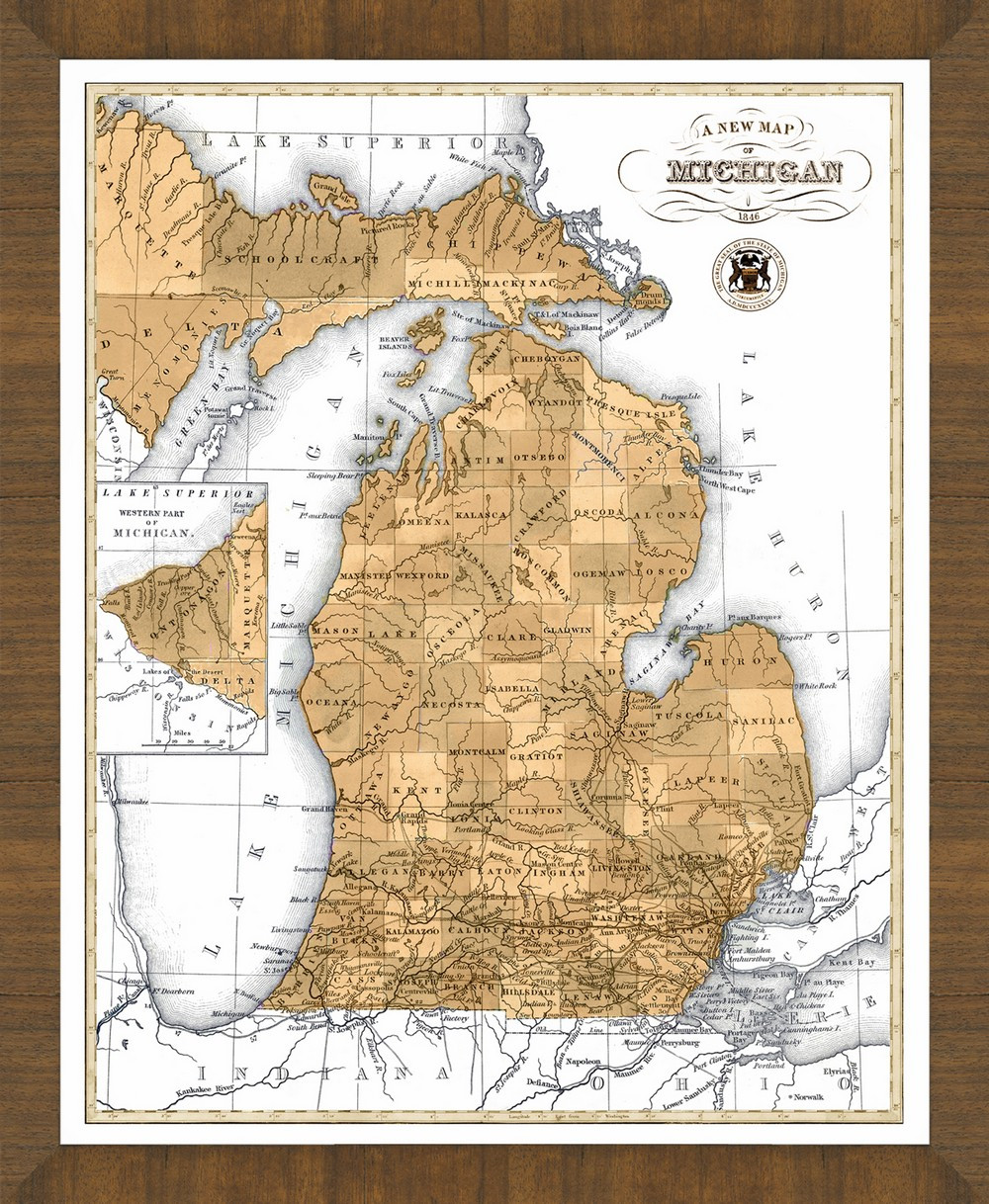 Old map of michigan a great framed map thats ready to hang old map of michigan gumiabroncs Gallery