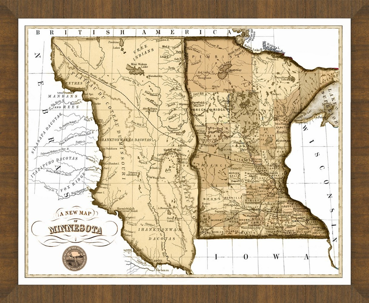 Old Map of Minnesota A Great Framed Map Thats Ready to Hang