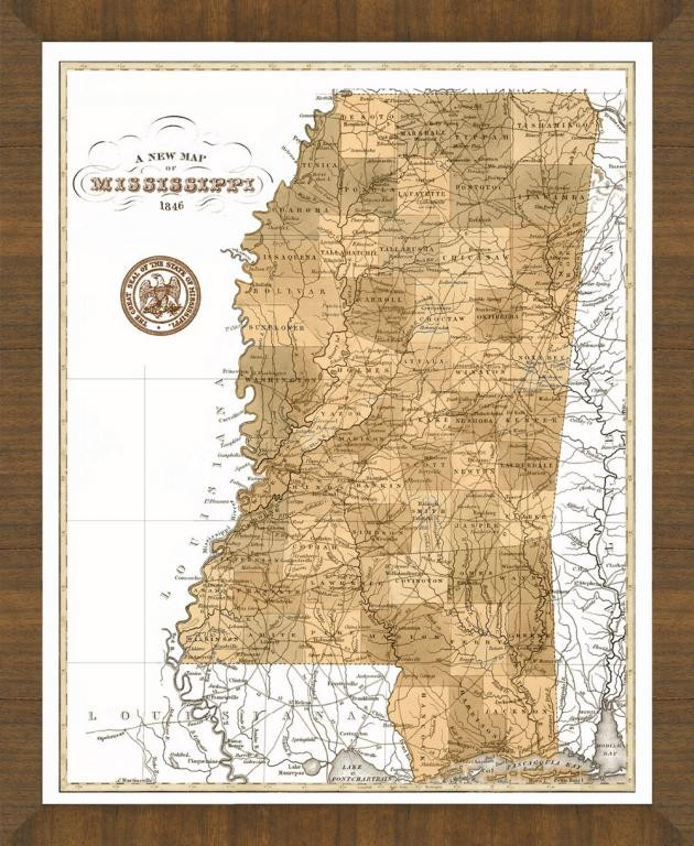 Old Map Of Mississippi A Great Framed Map Thats Ready To Hang - Map mississippi