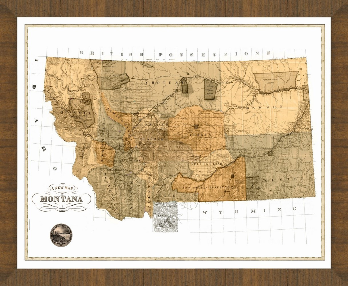 Tv Unit Ideas Old Map Of Montana A Great Framed Map That S Ready To Hang