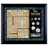 NY Times Man on Moon Collector's Coin & Stamp Set