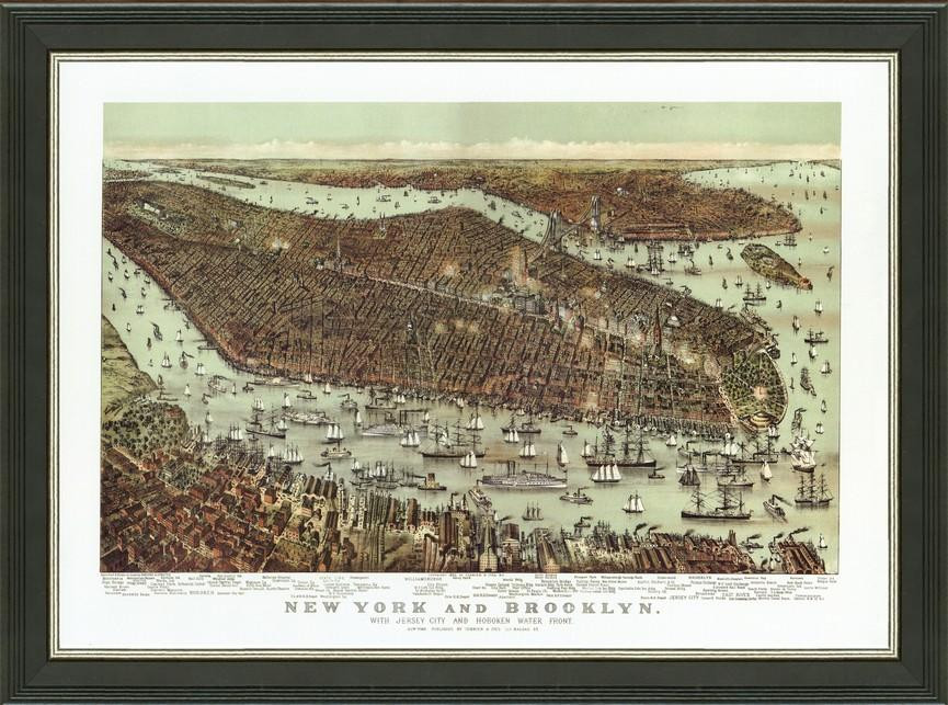 Old Map of New York City – A Great Framed Map That\'s Ready to Hang