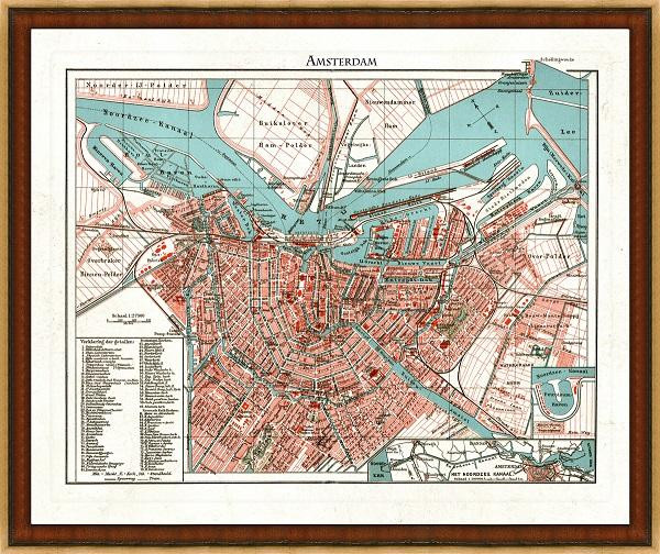 Old Map Of Amsterdam A Great Framed Map That S Ready To Hang