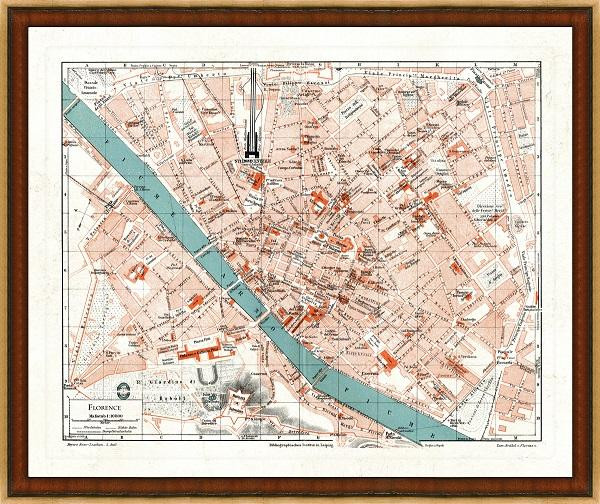Old Map of Florence A Great Framed Map Thats Ready to Hang