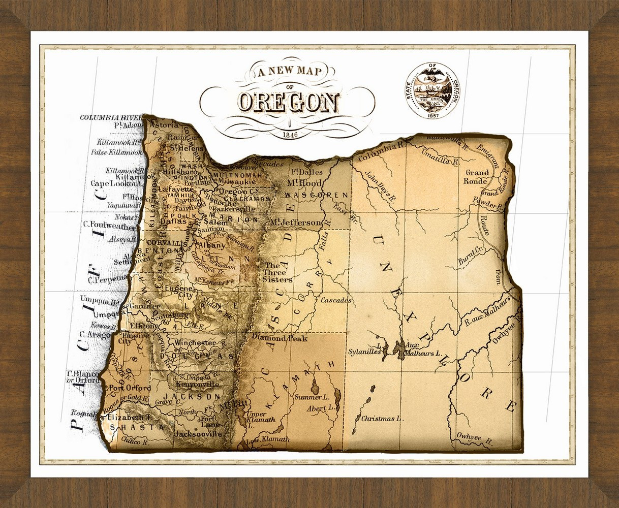 Old Map Of Oregon A Great Framed Map Thats Ready To Hang - Mapoforegon