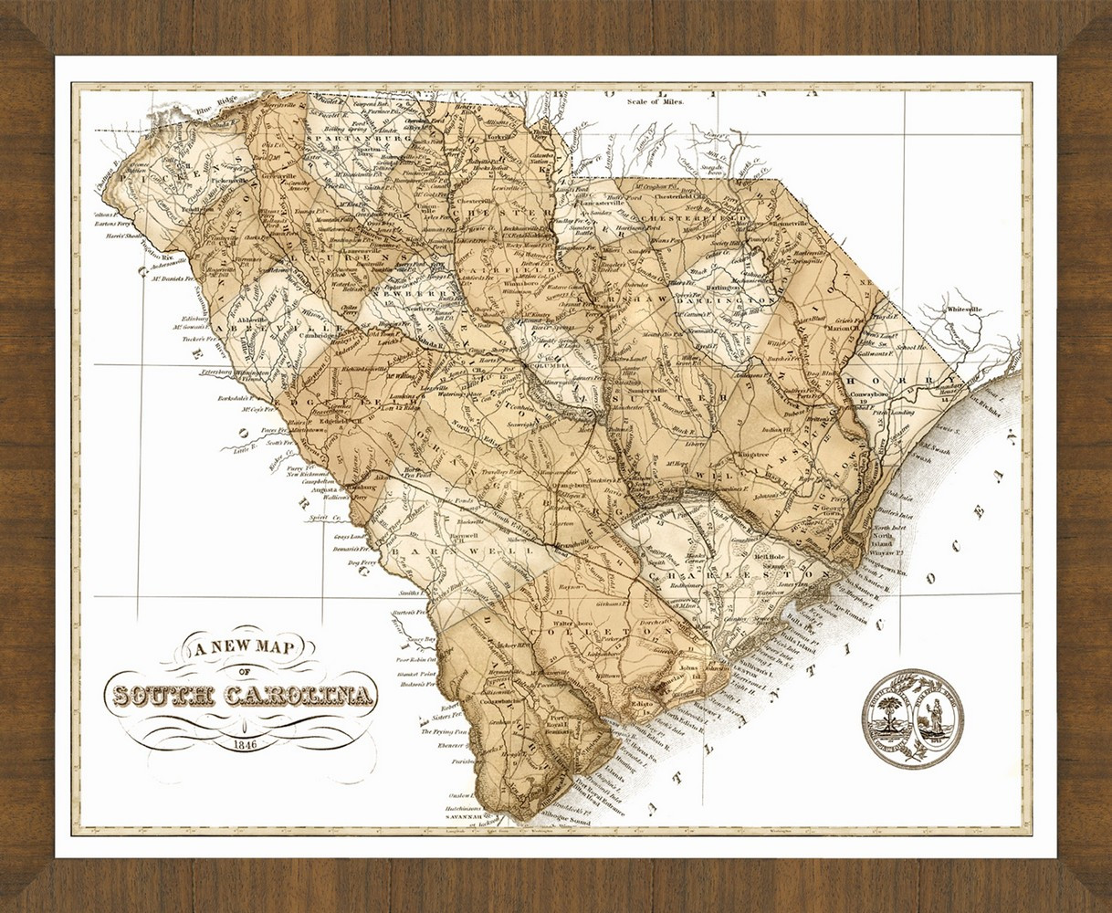 Old Map of South Carolina A Great Framed Map Thats Ready to Hang