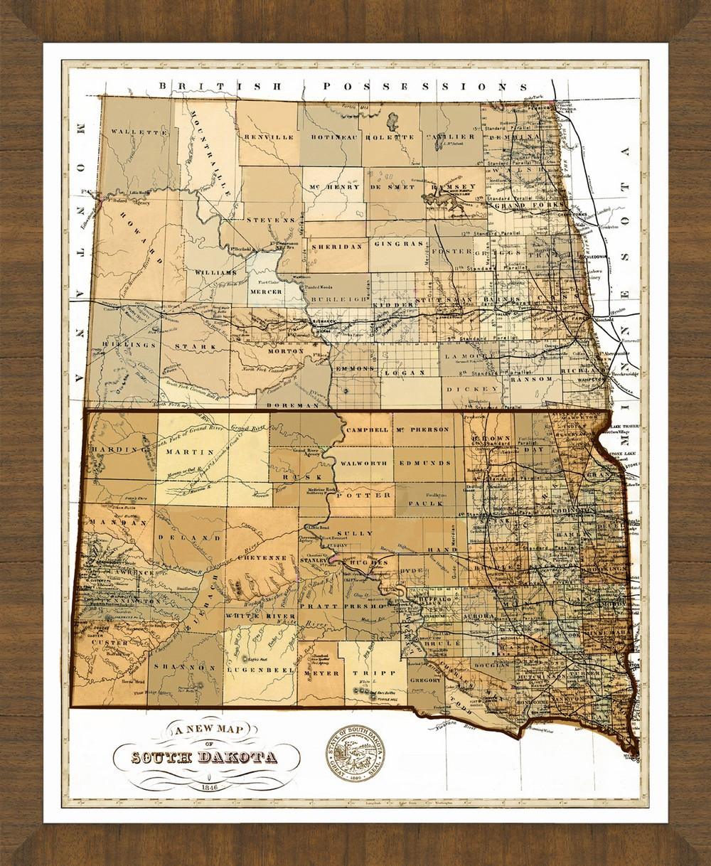 Old Map Of South Dakota A Great Framed Map Thats Ready To Hang - Map of south dakota