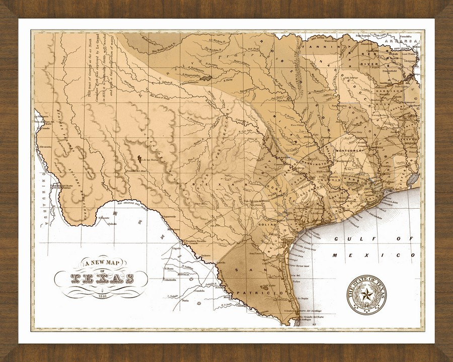 Old Map of Texas A Great Framed Map Thats Ready to Hang