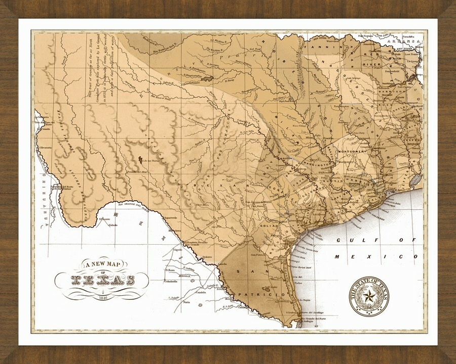 Old Map of Texas – A Great Framed Map That\'s Ready to Hang