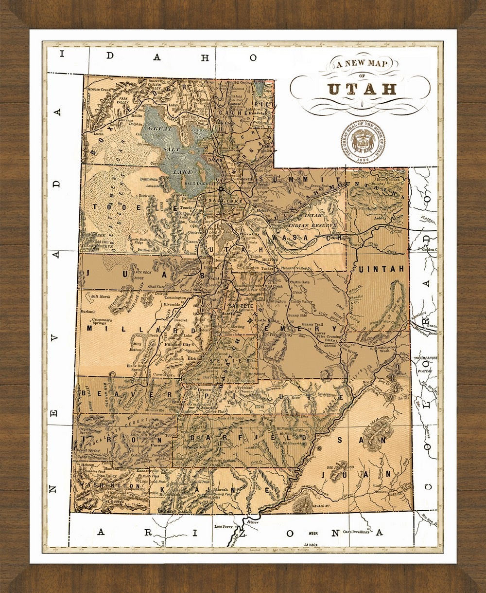 Old Map Of Utah A Great Framed Map Thats Ready To Hang - Map of utah