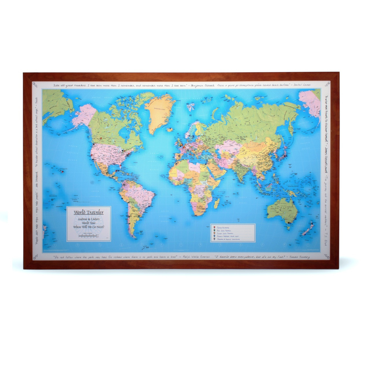 Personalized World Travel Map Framed and Ready to Hang – Personalized World Traveler Map Framed