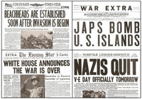 World War Two Major Events Newspaper Set