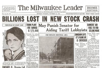 1929 Stock Market Crash Newspaper