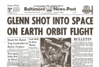 John Glenn Orbits Earth Historic Newspaper