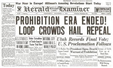 Prohibition Ends Historic Newspaper Reprint