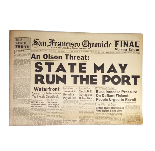 San Francisco Chronicle from your day of birth