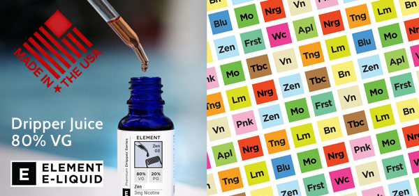 element dripper juice e-liquid 80% VG