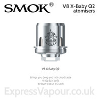 3 pack - TFV8 X-BABY Q2 atomisers. 0.4ohm dual coil. Ideal is 55 to 65W.