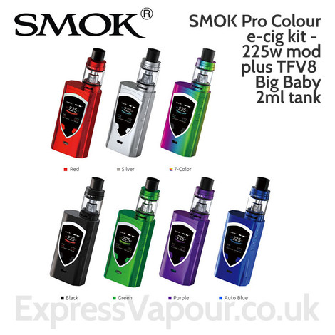 SMOK Pro Colour e-cig kit - 225w mod plus TFV8 Big Baby 2ml tank