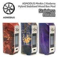 ASMODUS Stainless Steel Edition Minikin 2 Kodama 180w Hybrid Stabilized Wood Box Mod