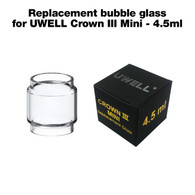 4.5ml capacity replacement bubble glass for UWELL Crown III Mini vaping tank.