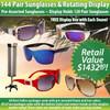 Package Deal 144 Pair Sunglasses & Rotating Floor Model Display SPA13 (12 dzn.+D007) Display Holds 120 Pair (Assorted Colors)