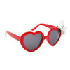Heart Shaped Sunglasses with Bows 6017 Red Frame White Bow