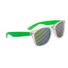 Bulk California Classics Sunglasses - Style # 32317 - Novelty Striped Lens Neon Green/Clear