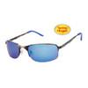 Xsportz™ Metal Frame Sports Sunglasses - Style # XS565 Gun Metal w/Blue Temple Tips & Blue Flash Mirror