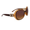 DE78 Vintage Fashion Sunglasses Brown & Transparent Light Brown Frame with Silver Buckle Accent