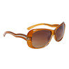 Ladies Fashion Sunglasses 23515 Transparent Tan Frame Color w/Silver Accents