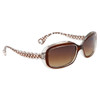 #22414 Women's Fashion Sunglasses Transparent Frame w/Brown Accents