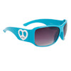 Cute Fashion Sunglasses w/Heart Shaped Peace Signs 23713 Blue Frame w/White Heart