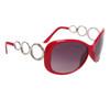 Designer Sunglasses Wholesale 24716 Gloss Red Frame Color w/Silver