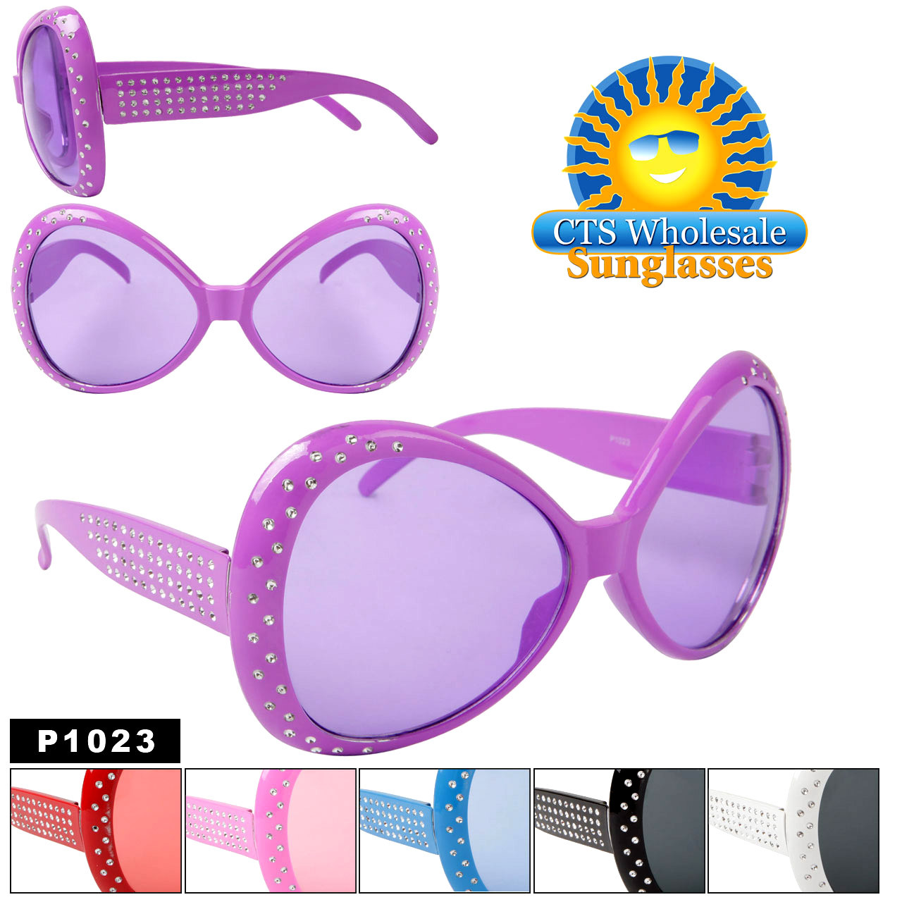 """Party Glasses """"Huge Sunglasses""""  ~ P1023 (12 pcs.) With Rhinestones (Assorted Colors)"""