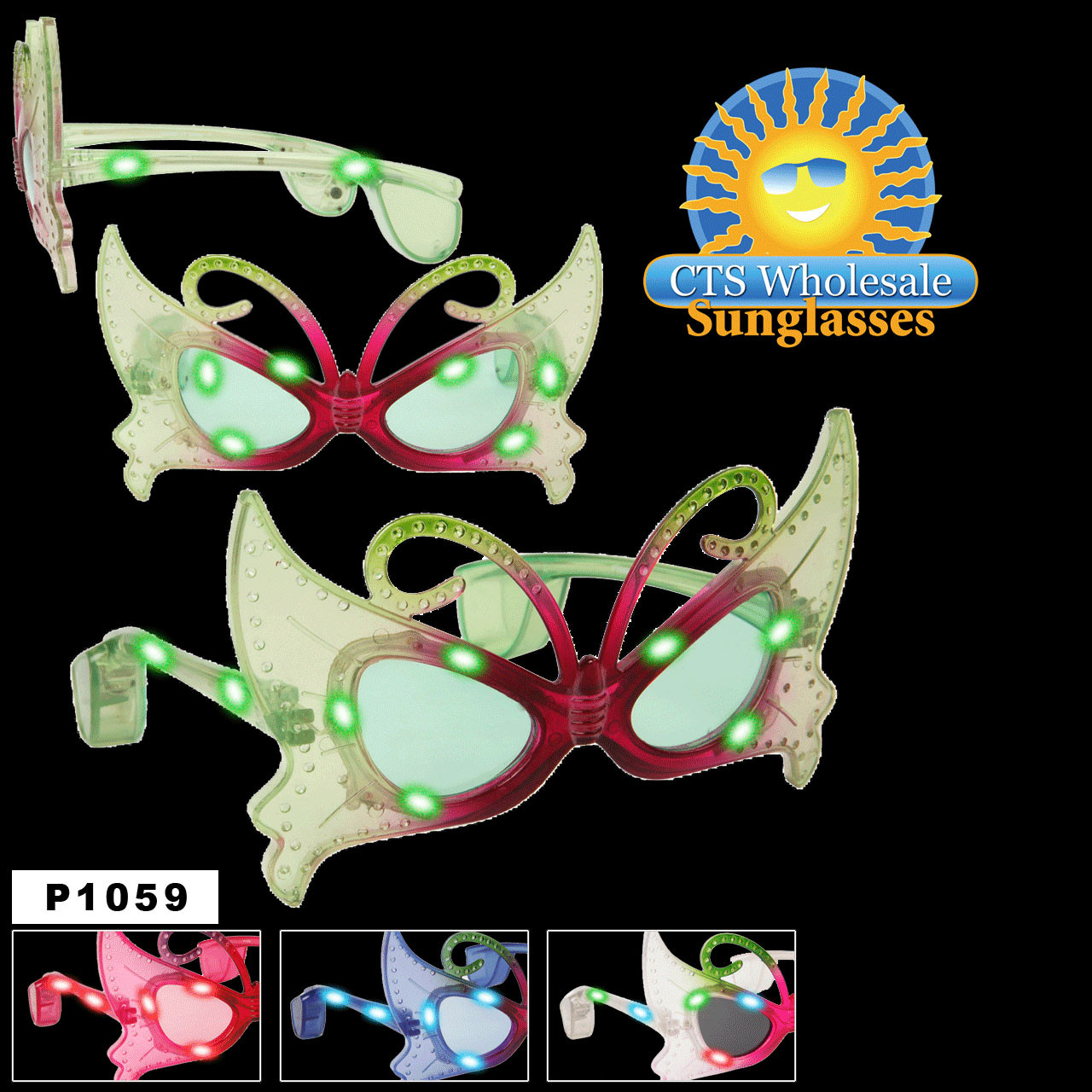 Flashing Sunglasses ~ Butterfly Eyes! ~ P1059 (Assorted Colors) (12 pcs.)