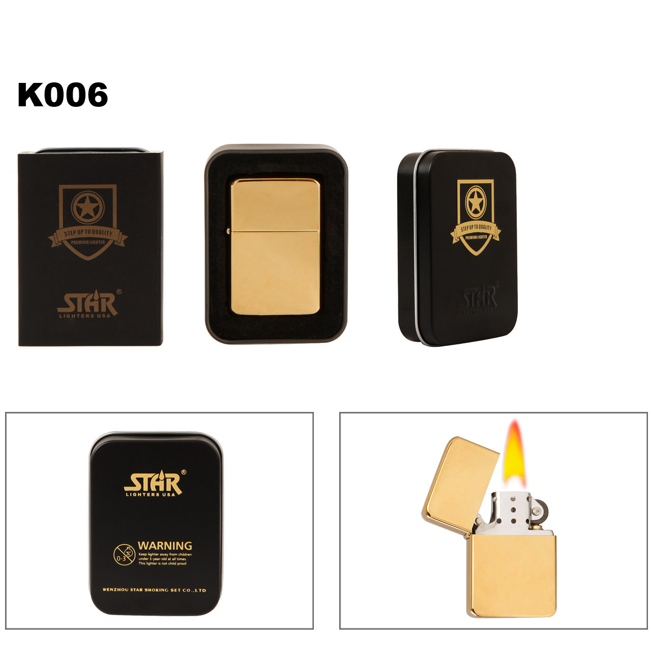 Brass Lighter Gold Colored Finish K006