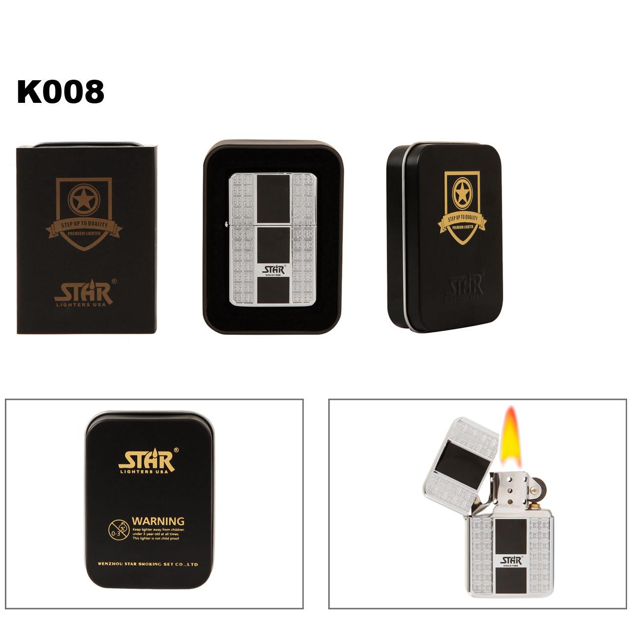 Star Lighter K008 & Lighter Tin