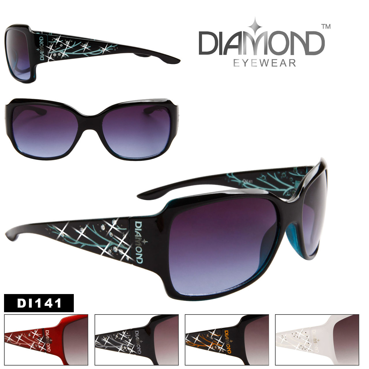 Women's Rhinestone Sunglasses - Diamond™ Eyewear - Style # DI141