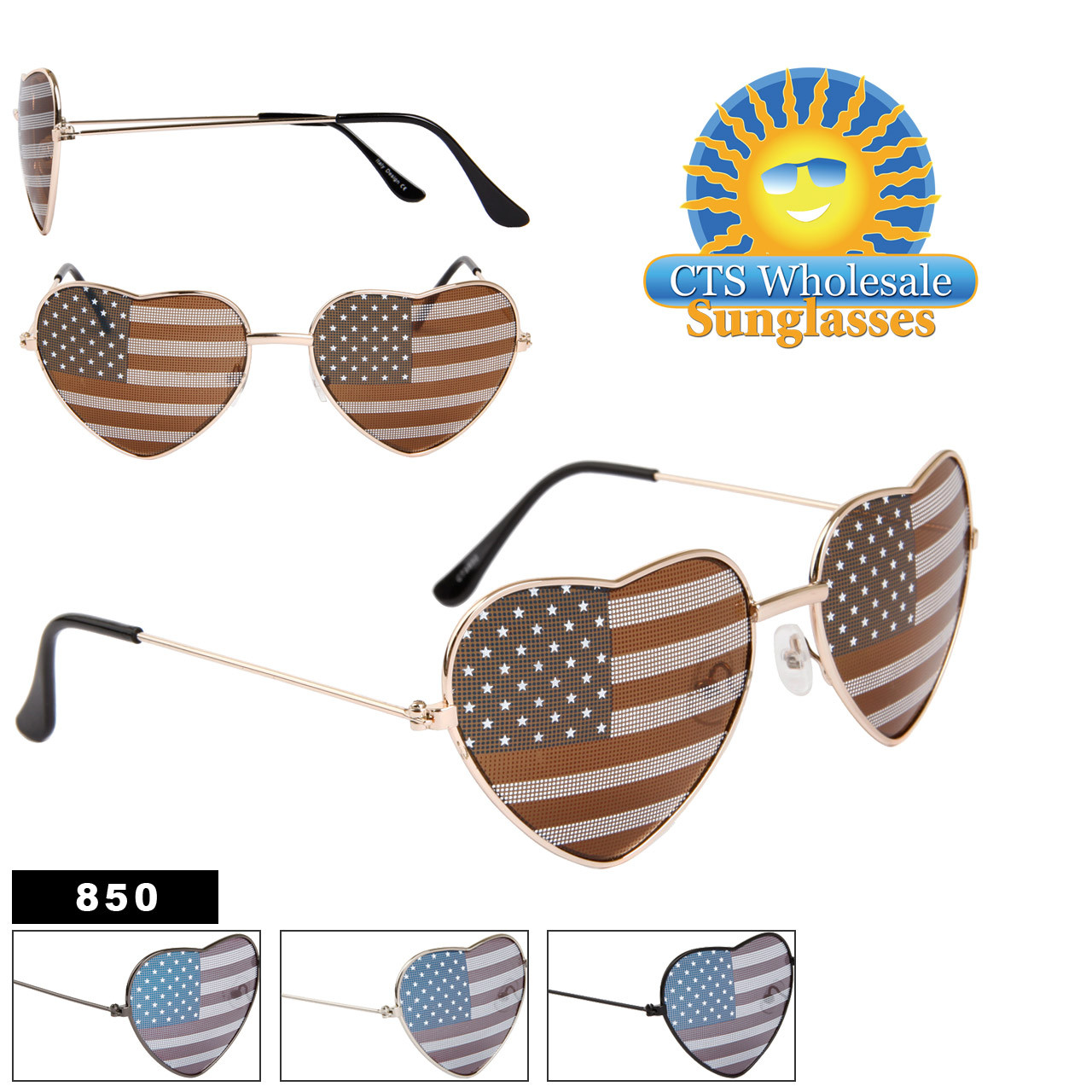 American Flag Heart Sunglasses Wholesale 850