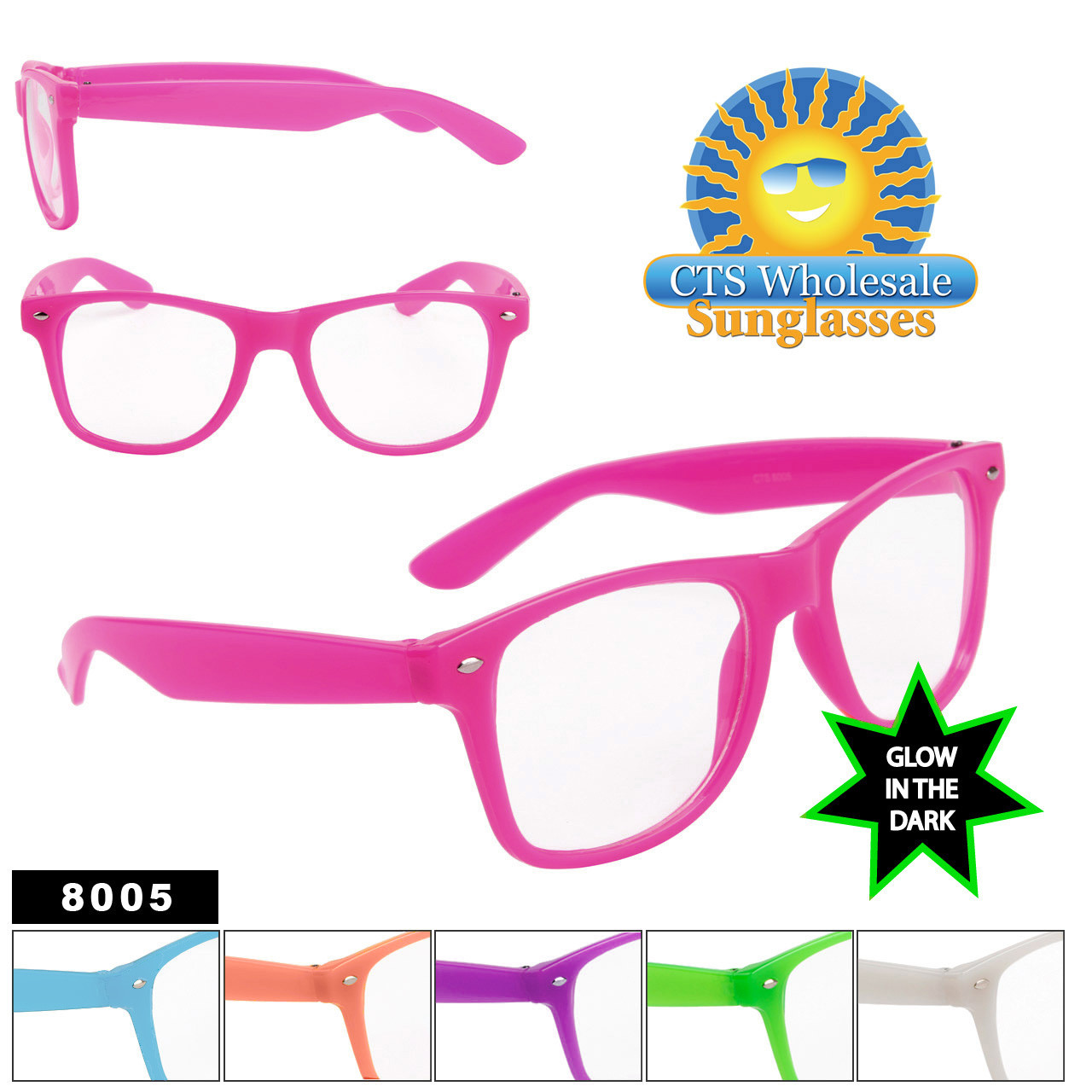 Glow In The Dark Sunglasses - Clear Lens California Classics - Style # 8005